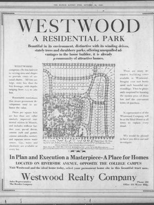 This is an advertisement for Westwood Residential Park that appeared in the Muncie Sunday Star in October 1924.