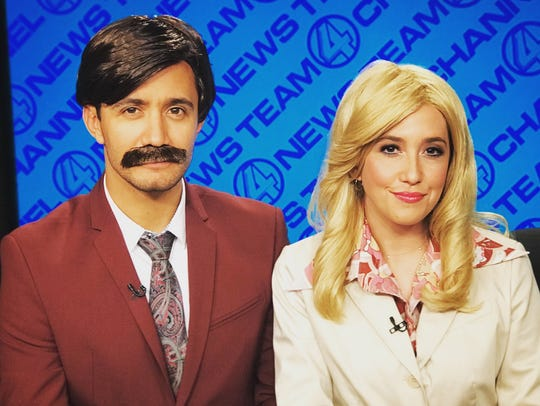 "Savannah Sellers, right, is in costume as a character from the movie ""Anchorman"" during a Halloween special in 2017 on NBC's Snapchat show Stay Tuned."