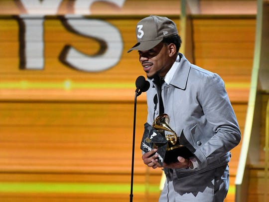 Chance The Rapper accepts the Grammy for Best New Artist.