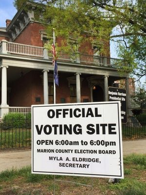 The Benjamin Harrison Presidential Site is being used the first time as a Marion County polling place for Indianapolis' municipal primary election on Tuesday, May 5, 2015. Voting booths are set up in the carriage house located at the rear of the residence. Harrison was the nation's 23rd president, from 1889 to 1893.