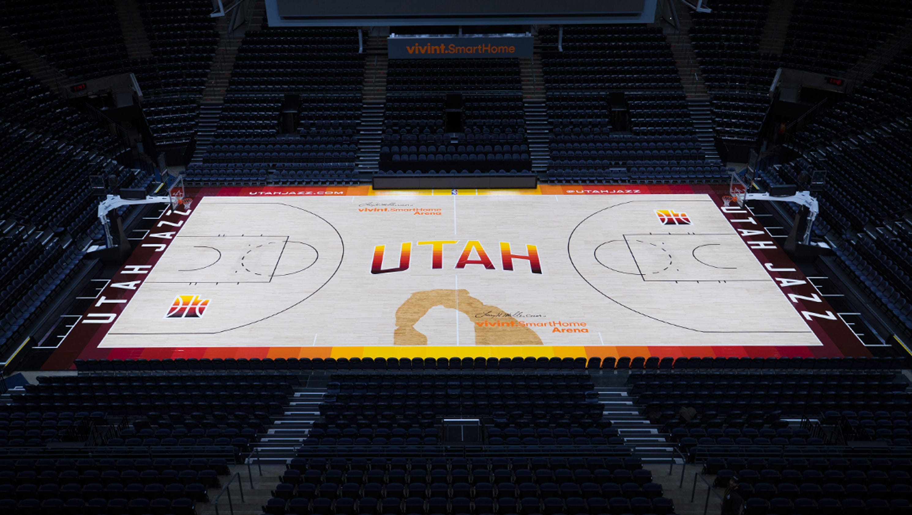 The southern utah jazz new red rock inspired court and for Sport court utah