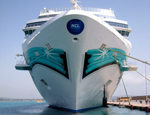 """Unveiled in 2006, Norwegian Cruise Line's 93,502 ton, 2,302-passenger Norwegian Jade is the second of four nearly identical """"Jewel Class"""" ships that includes the Norwegian Jewel (2005), Norwegian Pearl (2006) and Norwegian Gem (2007)."""