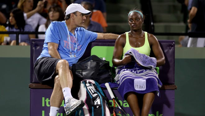 Coach Paul Annacone with Sloane Stephens at the Sony Open in March.