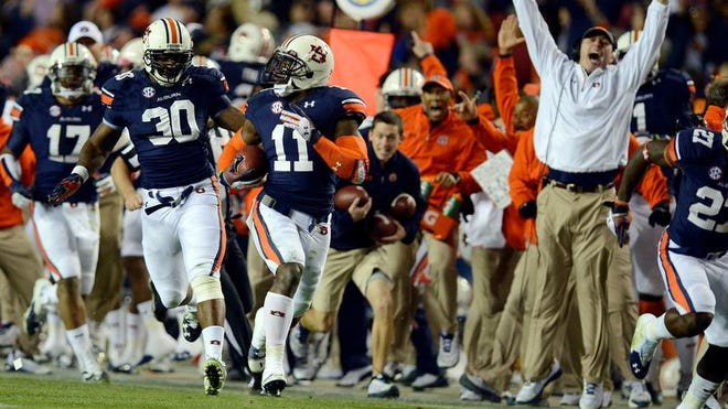 Auburn cornerback Chris Davis returned an Alabama last-second missed field goal 100 yards for a touchdown in the Iron Bowl at Jordan-Hare Stadium.