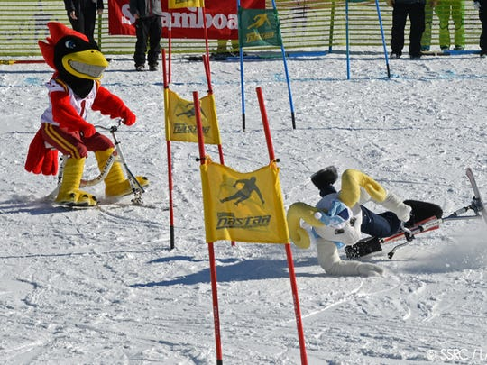 Cy of Iowa State races at the Mascot Stampede in Steamboat Springs, Colo.