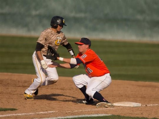 COS first baseman Oscar Reyes hauls in a pass from the pitcher in a game earlier this season.