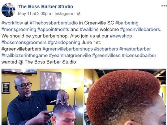 Greenville barber Al Reid, owner of Boss Barber Studio, features his latest cuts on Facebook.