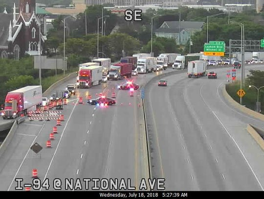 Motorists exit I-43/94 northbound at National Avenue.