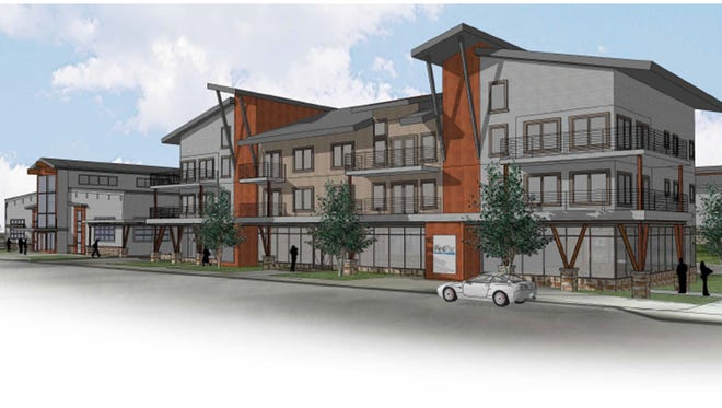 A rendering of the $67 million Elevation at Okemos Pointe project, which will have roughly 400 apartments and a food vendor market. The Lansing Economic Area Partnership helped line up incentives for this project and 16 others in 2016.