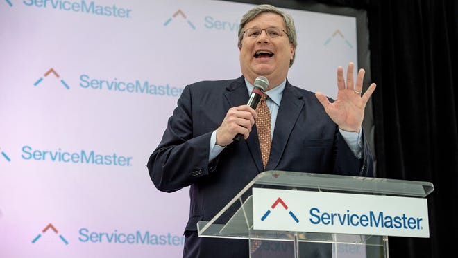 April 18, 2018 - Memphis Mayor Jim Strickland speaks during an event marking the opening of the new ServiceMaster headquarters in downtown Memphis. (Brandon Dill/Special to The Commercial Appeal)