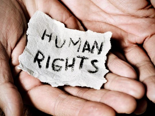 young man with the text human rights