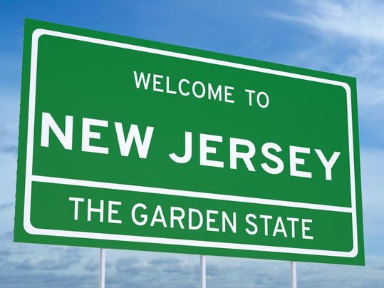 Welcome to New Jersey state road sign
