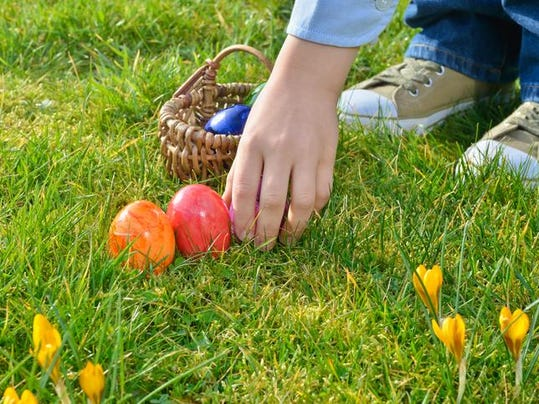 Easter egg hunt on a sunny Easter morning