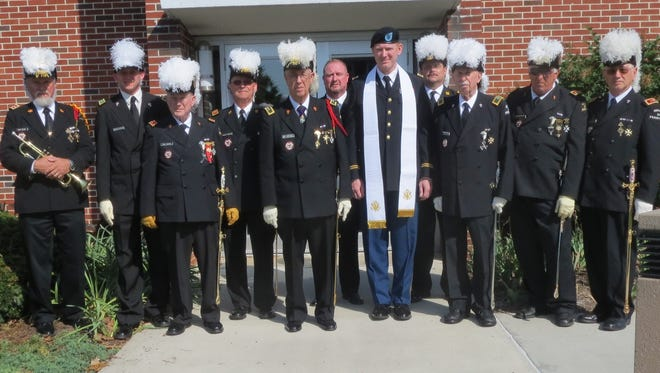 From left to right are Sir Knights Terry Millard, Abram Shaffner, David Winters, Mahlon Pritchard, Larry Hall, Galen Kleinfelter, Chaplain Christopher Lehr, Mark Mattern, Richard Long, William Fergus and Edward DiGiacomo.