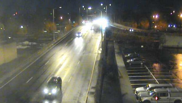 Traffic moving over the Center Street Bridge early Monday morning.