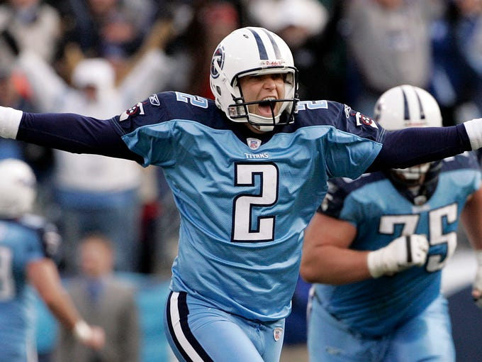 FILE -- In this Dec. 3, 2006 file photo, Tennessee Titans kicker Rob Bironas (2) runs off the field after kicking a 60-yard field goal with 12 seconds left in the fourth quarter to beat the Indianapolis Colts, 20-17 in an NFL football game in Nashville, Tenn. Bironas died Saturday night, Sept. 20, 2014 after a car accident near his Nashville home, according to police. (AP Photo/Mark Humphrey, File)