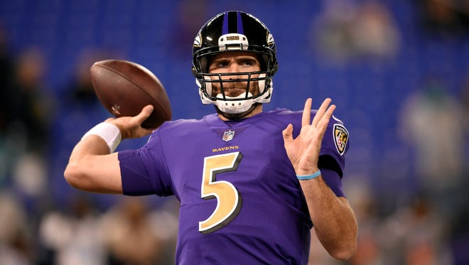 The Baltimore Ravens may have relied too much on Joe Flacco's passing in last week's 34-23 loss to the Cincinnati Bengals. Flacco threw 55 times. AP FILE PHOTO