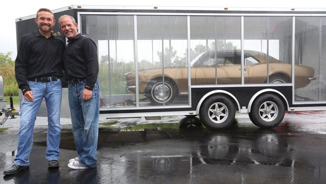 Logan, 18, and his father Corey Lawson, 46, from Hutchinson, Kan., together discovered and bought the very first 1967 Chevrolet Camaro six years ago. They brought the car to a garage in Royal Oak on Tuesday, August 16, 2016 and it will be on display on Woodward in Birmingham during the 2016 Dream Cruise.