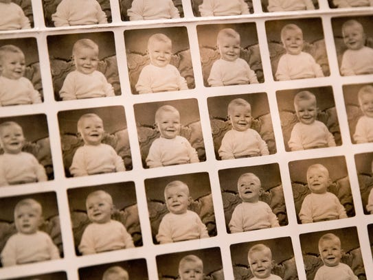 A contact sheet of photographs of David Bowie when