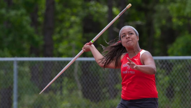 Parsippany sophomore Kathryn Campbell competes in the Group II javelin.