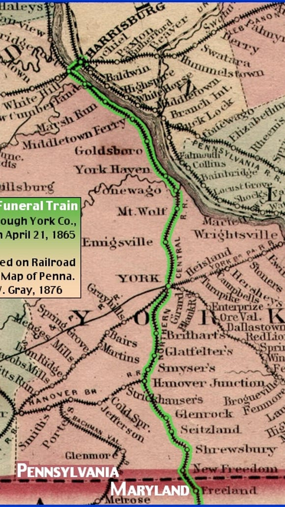 York County section of O. W. Gray's 1876 Railroad & County Map of Pennsylvania (Lincoln Funeral Train route highlighted by S. H. Smith, 2015)
