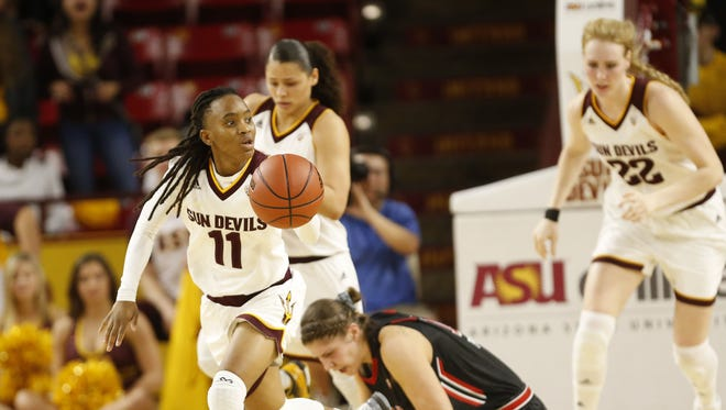 ASU guard Peace Amukamara steals the ball from Utah forward Emily Potter during the fourth quarter at Wells Fargo Arena in Tempe, Ariz. January 17, 2016.