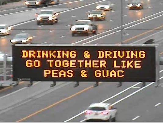 ADOT 'peas and guac' sign