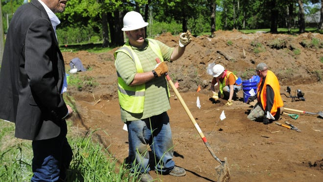 Battle of Franklin Trust CEO Eric Jacobson looked over an archaeological dig at the Carter Hill Battlefield Park Tuesday, May 2, 2016 as a crew excavated what may be the remaining unmarked site of the Federal Army's front line.
