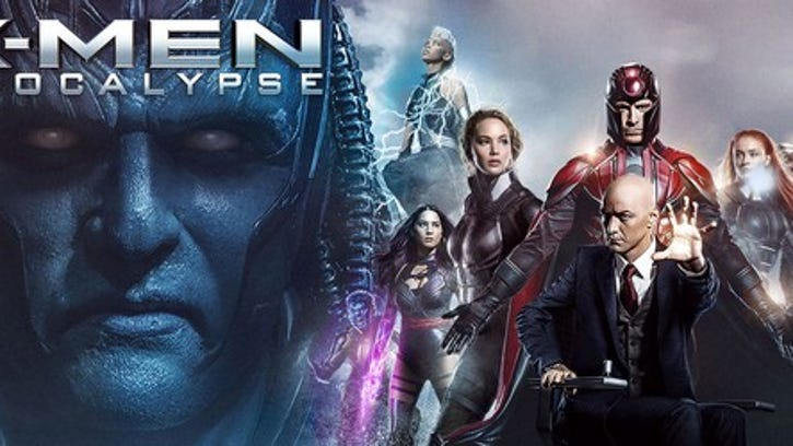 A promotional still from X-Men Apocalypse showing various characters.
