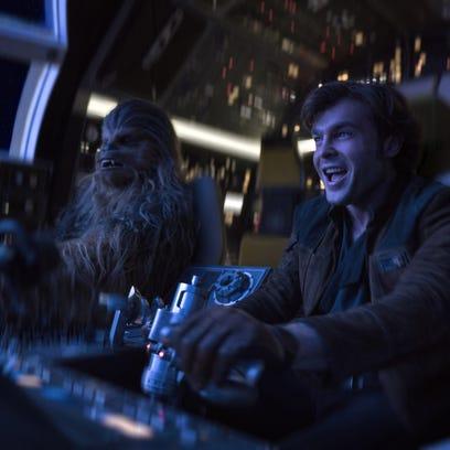 Chewbacca (Joonas Suotamo, left) and Han Solo (Alden