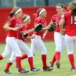 UL players celebrate the NCAA Regional win last weekend at Lamson Park. The Cajuns will now be hosting Arizona this weekend in the Super Regional round.
