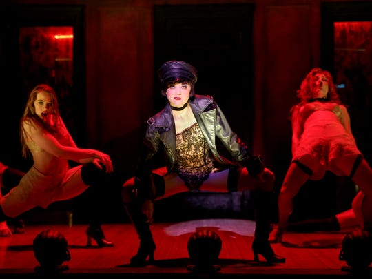 """Sarah Bishop as Helga, Andrea Goss as Sally Bowles and Alison Ewing as Fritzie in the 2016 national touring cast of Roundabout Theatre Company's """"Cabaret."""""""