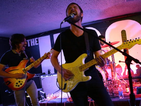 Beisbol lead singer Ryan Burian performs Wednesday night at The Hood Bar and Pizza in Palm Desert during the latest Tachevah Band Showcase. The Hemet-based rock and roll band's latest album is titled Lo-Fi Cocaine.