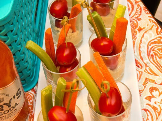 Huumus with veggies, which they called Shot Glass Crudites,