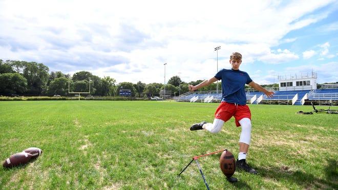 Lexington High sophomore Lucas Patocs Bisazza, 15, practices kicking field goals at Dr. Harold Crumb Field in Lexington, Aug. 31, 2020.