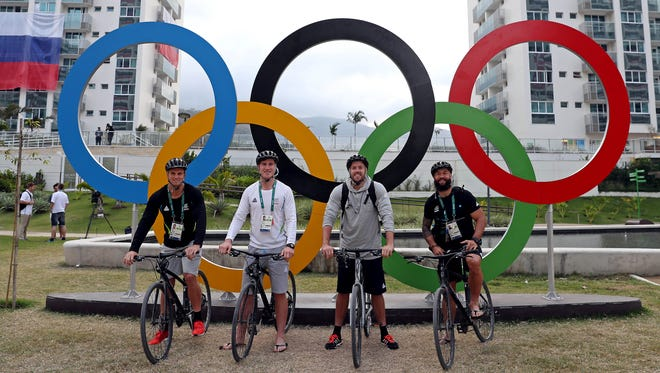 Members of the New Zealand Rugby team pose for a picture at Athlete Village prior to the 2016 Rio Olympics Games on Aug. 2.