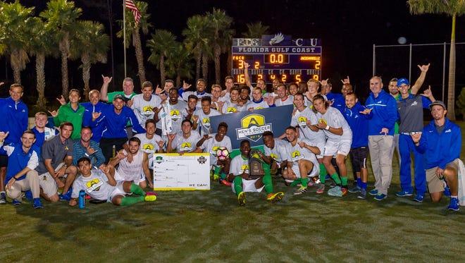 FGCU men's soccer celebrates its ASUN tournament title Saturday, Nov. 12, at FGCU.