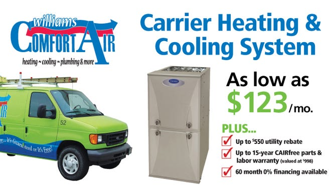 Carrier Heating & Cooling System as low as $123/mo.