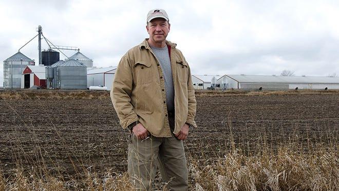 Craig Hill on his farm near Milo.