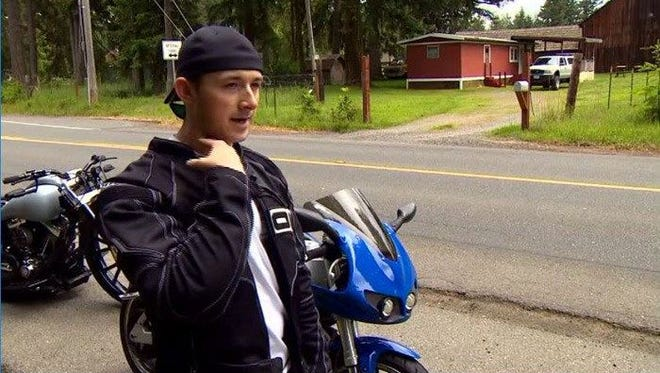 The fishing line nearly ripped Alex Teston off his motorcycle and sliced across his throat.