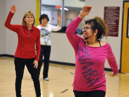 Craig Matthews/The Daily Journal Instructor Terri Rhoades teaches a senior Zumba class at Inspira Fitness Connection. The facility offers a wide range of classes geared to older adults as part of its Active Aging program.