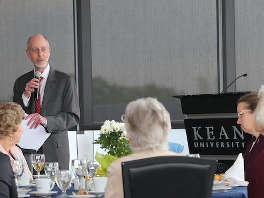 Kean University Provost and Vice President for Academic Affairs Jeffrey Toney addresses the crowd at Kean's 50+ Alumni Reunion.