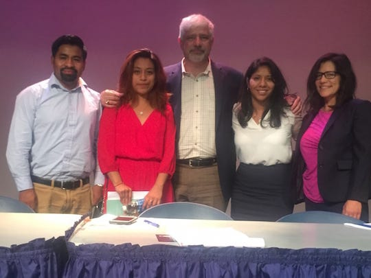 Alvaro Aguilar, Yeimi Hernandez, Frank Argote-Freyre, Ana Ventura and Ana Yngelmo led a panel discussion on immigration at Kean University on October 4.