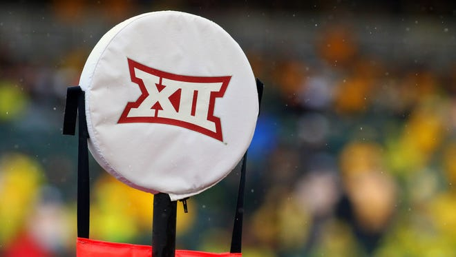 The Big 12 logo on the chains during a game between the Baylor and Iowa State at McLane Stadium.