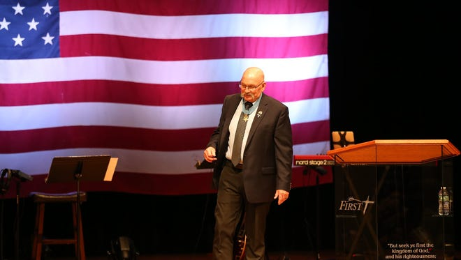 Medal of Honor recipient, Gary Beikirch spoke to the congregation at First Bible Baptist Church on July 8, 2018.
