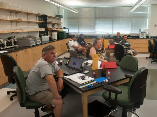 Marlton teacher Bill DuBois participates in interactive training that focuses on engineering and computer science. The hands-on approach allows the educators to better prepare for implementing Project Lead The Way curriculum in their classrooms this fall.