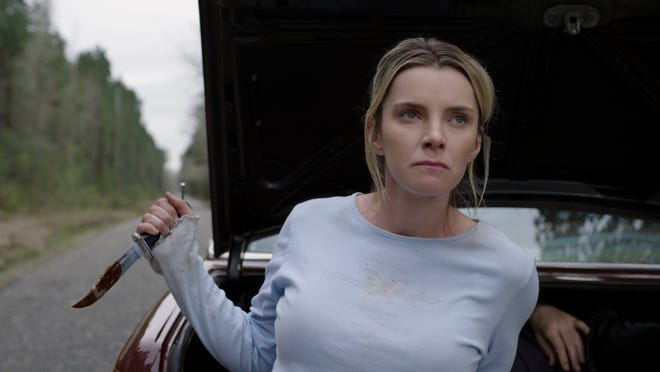 "Crystal (Betty Gilpin) is determined to stay alive in ""The Hunt."""