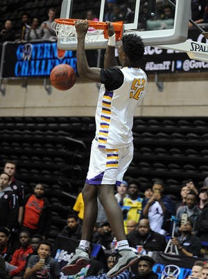 High school basketball players compete in the 2016 Slam Dunk Contest at the 36th Annual Governor's Challenge in Salisbury on Thursday, Dec. 29, 2016 at the Wicomico Youth and Civic Center.