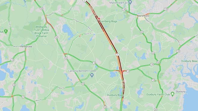 A traffic map shows long delays as Route 3 is closed in both directions following a serious multi-car crash near Exit 12 in Pembroke.