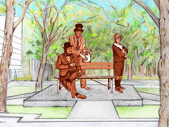 "A drawing by sculptor Neil Logan shows the proposed ""Wallace and Ladmo Show"" statue, which the newly formed Wallace and Ladmo Foundation aims to place outside the Herberger Theater Center in downtown Phoenix."